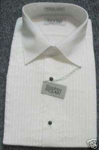 New White Monte Carlo Laydown Tuxedo Shirt M 35/36