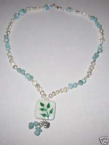 Lariat Eco Style Genuine Larimar Pearl Crystal necklace