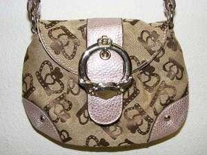 KATHY VAN ZEELAND Brown Crown Khaki Pink Metallic Leather Purse