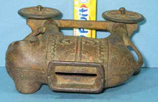 1920s ELEPHANT ON WHEELS OLD CAST IRON BANK GUARANTEED OLD