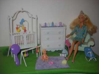 Barbie Krissy Nursery Crib Changing Table Bouncer Doll Accessories Lot