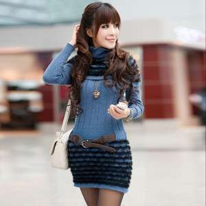 WomenS Attractive Charming Knitwear Stripes Sweater Dresses & Belt
