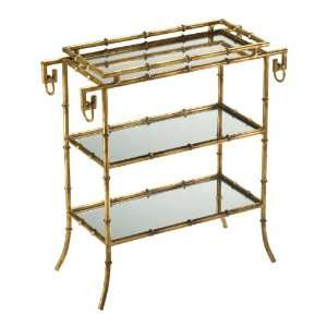 Hollywood Regency Gold Leaf Gilt Bamboo Serving Tray Table