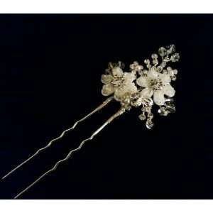 Wedding Hair Pin Flower Leaves Rhinestone Crystals Pearl   Ideal for
