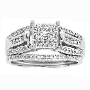 1/2 Carat Princess Round Diamond 14k White Gold Bridal Set