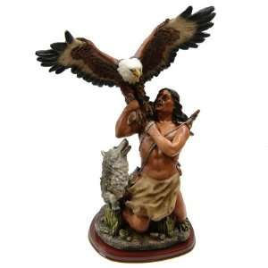 Native American Indian with Eagle Statue: Home & Kitchen