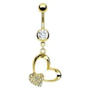 Belly Navel Ring Cz Clear Gem Gold Plated Pave Heart and