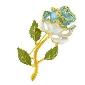24k Gold Plated Swarovski Crystal Enamel White Rose Pin