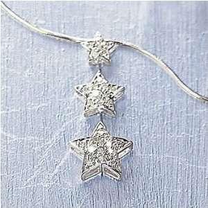 White Gold Diamond Cut Snake Necklace With Three Diamond Star Jewelry