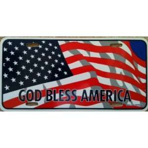 Patriotic God Bless America License Plate Cover American Flag USA Red
