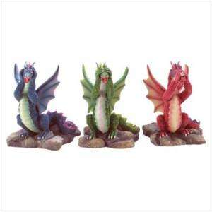 See Hear Speak No Evil Colorful Dragons NEW