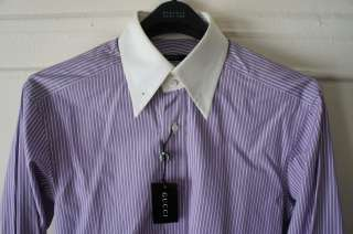 FORD Purple Shirt Pinned Collar White French Cuffs Runway Shirt