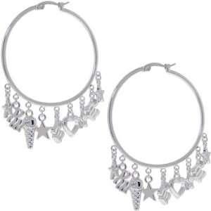 Rocawear Silver Tone Charm Hoop Earrings Jewelry
