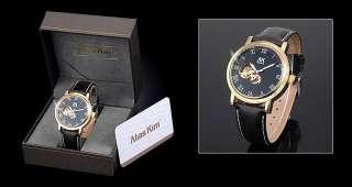 AK Homme Elegant Black Auto Mechanical Gents Wrist Watch + Gift Box