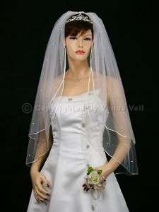 2T White Wedding Bridal Fingertip Rhinestone Veil
