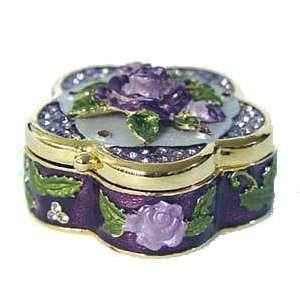 com Purple 3 Dimensional Lavender Rose Box Swarovski Crystal 24K Gold