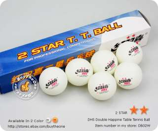 6pc DHS Double Happine 2 Star Table Tennis Balls Orange
