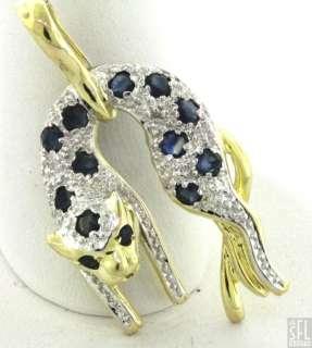 GOLD FANCY .62CTW DIAMOND/BLUE SAPPHIRE PANTHER/CAT PENDANT