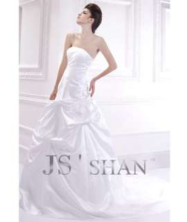 SALE White A Line Layered Strapless Satin Bridal Gown Wedding Dress