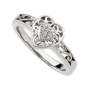 14k White Gold Diamond Heart Filigree Ring .04ct   Size 6