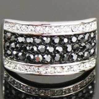 GP Black Swarovski Crystal Marcasite Cocktail ring o388