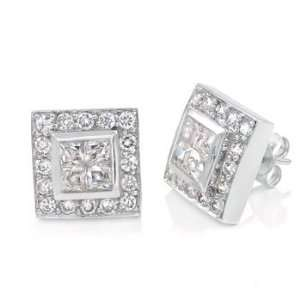Mens Hip Hop Iced Out CZ Stud Earrings Sterling Silver