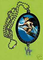 DIY Necklace Pinup Witch w/ Halloween Cat Charm Goth
