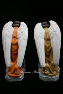 Large Pair of Kneeling Angels Statue Figurine Sculpture Made in Italy