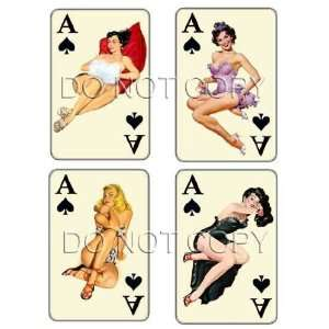 Vintage Ace of Spades pinup playing cards decals #208
