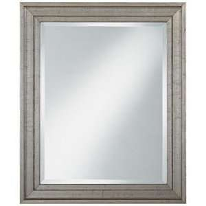 Antiqued Silver Wood Frame 34 High Wall Mirror