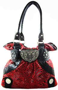 Faux Fur Zebra Leopard Animal Print Triple Heart Emblem Purse Bag Red