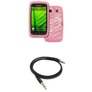 EMPIRE BlackBerry Torch 9860 9850 Pink with White Zebra Stripes Design