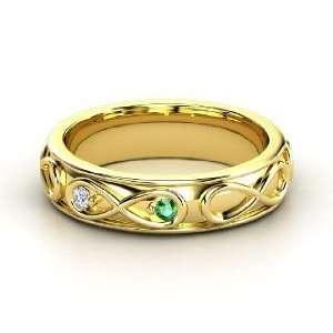 Infinite Love Ring, 14K Yellow Gold Ring with Emerald & Diamond