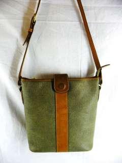 ELLE Paris LEATHER SHOULDER BAG Moss Green/Brown Used