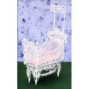Dollhouse Miniature White Wire Baby Crib