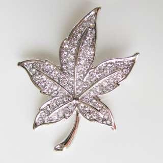 Maple Leaf brooch pin ,swarovski crystal, white gold GP, wedding