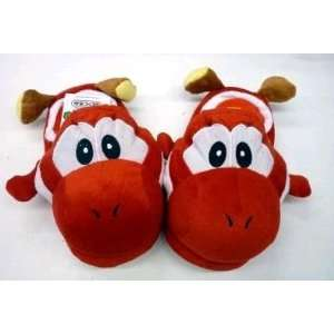 Super Mario Red Yoshi Plush Slipper   Kids Everything