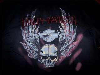 HARLEY DAVIDSON SKULL CHAIN LOGO SHORT SLEEVE SHIRT (L)