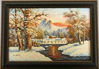 Winter Mountain Snow Cabin River   FRAMED OIL PAINTING