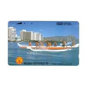 Collectible Phone Card 3u Aloha Festivals 93   Canoe (Tel Bold