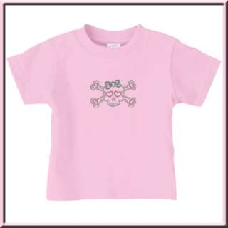 Rhinestones Girl Skull w/Bow T Shirt INFANTS & TODDLERS