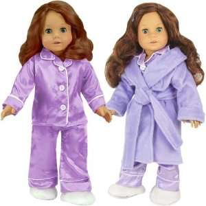 com Purple Doll Pajamas & Robe 4pc. Set fits American Girl Dolls   18