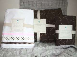 STAR PICKSTITCH QUILT Hannah Ribbon SHEET set Twin Pink brown