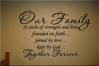 Wall Decal Our Family Circle Together Forever Art Quote