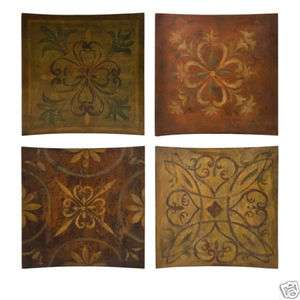 TUSCAN Scroll S/4 Large Wood WALL PLAQUES Home Decor Art Earth Tones