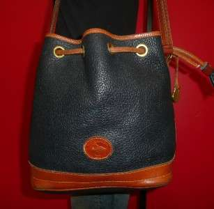 Vintage Larger DOONEY & Bourke Navy Blue Leather Tote Bucket Purse Bag