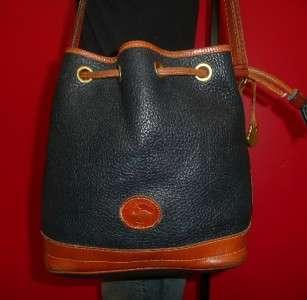 Vintage Larger DOONEY & Bourke Navy Blue Leather Tote Bucket Purse Bag