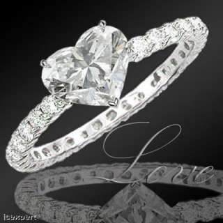 87 Ct. Heart Shape Diamond Engagement Ring F SI2 EGL