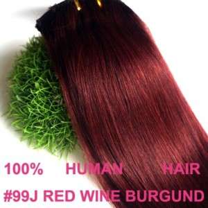 24 120G CLIP HUMAN HAIR EXTENSIONS RED WINE BURGUNDY