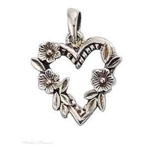 Sterling Silver Open Heart With Three Flowers Pendant